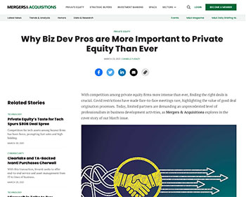 Why Biz Dev Pros are More Important to Private Equity Than Ever